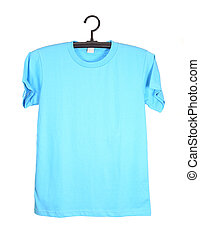 t-shirt on hanger isolated on white - blue t-shirt template...
