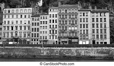 lyon old city - architectural detail of houses in the old...