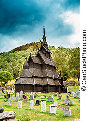 Borgund Stave Stavkirke Church And Graveyard, Norway -...