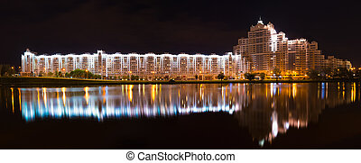 Building In Minsk, Downtown Nemiga - Night Scene Building In...