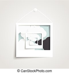Vector white frame on the wall.