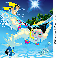 Diving girl - Raster version of vector image of young women...