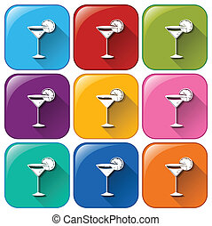 Rounded buttons with cocktail drinks - Illustration of the...