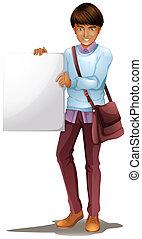 A boy holding an empty board