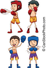 Simple sketches of boxers - Illustration of the simple...