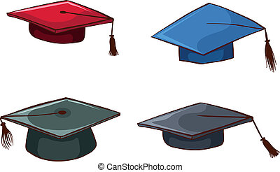Simple sketches of graduation caps - Illustration of the...