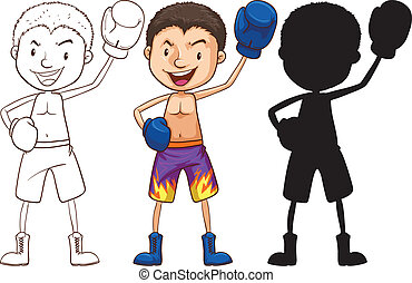 Sketches of a boxer in different colors - Illustration of...