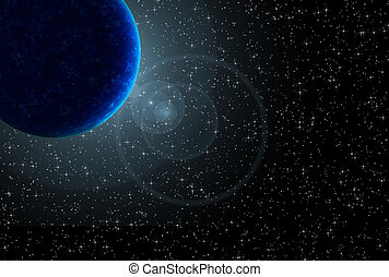 Planet - Blue planet with flare over starry black sky