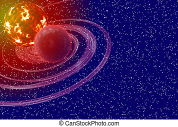 Sun And Planet - Sun and planet over nebula and stars...