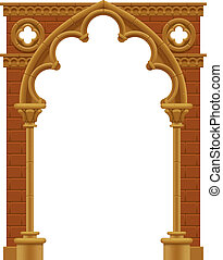Gothic arch - Vector isolated frame in form of the stone...