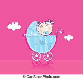 Happy baby in pram - It\'s girl! Vector cartoon...