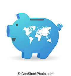 Piggy bank with a world map - Illustration of an isolated...