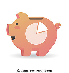 Piggy bank with a pie chart