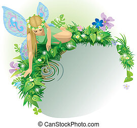 Fairy girl - Vector greeting card with a fairy girl with...