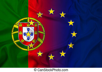 Waving Portugal and European Union Flag