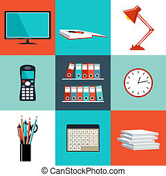Flat vector set of office things, equipment, objects. Vector