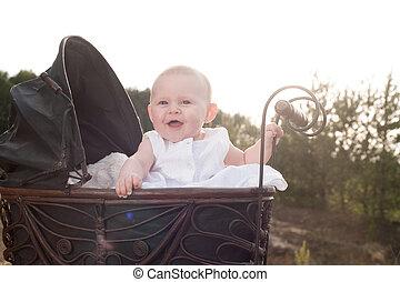 boldog, csecsemő, neki, babakocsi