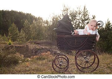 csecsemő, babakocsi, napnyugta