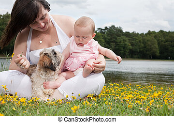 Sweet little family - Mother and her daughter are having a...