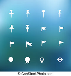 White icons clip-art on color background. Design elements