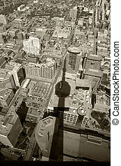 toronto - Black and white photo of Toronto viewed from CN...