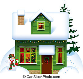 Christmas house - Vector image of the green wooden christmas...