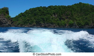 Andaman sea - Wake from a speedboat outboard motor, Similan...
