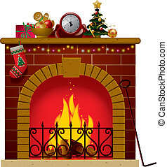Christmas fireplace - Vector image of the fireplace with a...