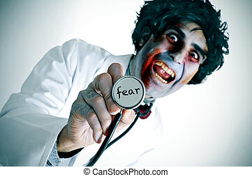 a zombie doctor with the word fear written in his...