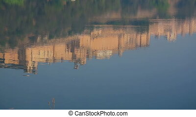 Reflection - Landscape with reflection fort in lake in...