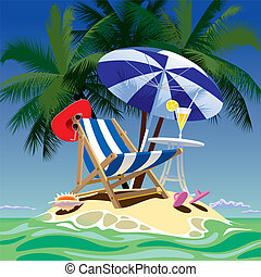 Tropical island - Vector image of tropical island with beach...
