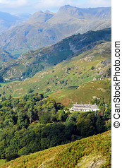 The Langdale Pikes from Loughrigg Fell in Lake District...