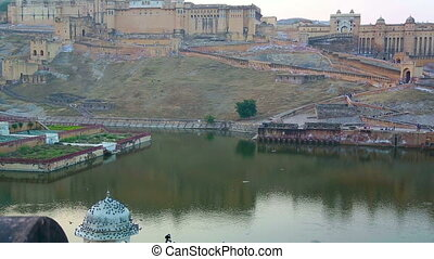 Amber fort - Landscape with fort and lake in Jaipur India