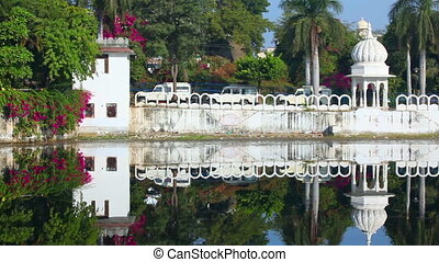 Indian architecture - Pichola lake in Udaipur India