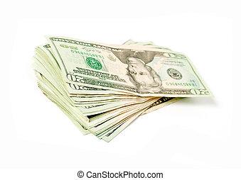 Stack of money american 20 dollar bills on white background....