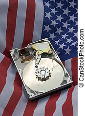 harddisk - opened harddisk on american flag, vertical photo