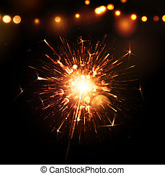 Holiday Background with Sparkler - Holiday background with...