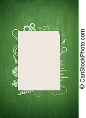 Concept on black blackboard - Green blackboard concept with...