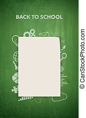 Back to school on blackboard with empty paper sheet