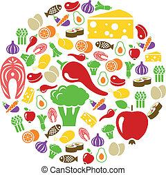 sain, nourriture, icônes, Cercle
