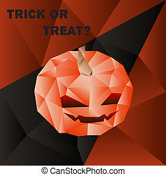 Vector halloween poster with scary pumpkin head in polygonal...