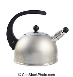 Old metal stovetop kettle isolated - Old metal stovetop...