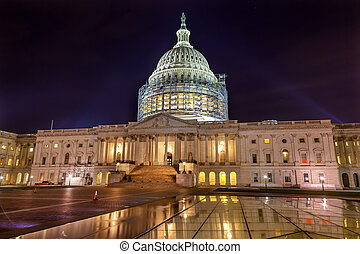 US Capitol North Side Construction Night Stars Washington DC...