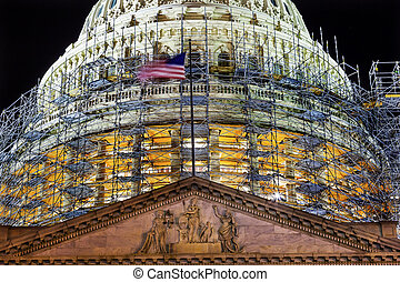 US Capitol North Side Dome Construction Close Up Flag Night...