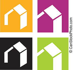 House icons - Vector icons of stylised houses Vector...