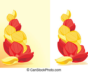 Red and yellow rose petals. Vector illustration