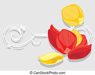 Rose petals. Decorative background for greeting card. Vector...
