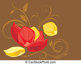 Red and yellow rose petals on the decorative background....