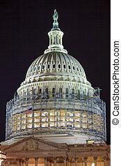 北, 国会議事堂, の上, 私達, ドーム, 旗, 建設, 夜, 終わり, 星, 側