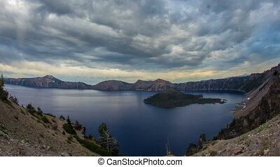 Crater Lake Cloudy Oregon 695 - Time lapse of crater lake in...